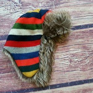 Baby Gap trapper hat Crazy Stripe Faux Fur M/L NWT